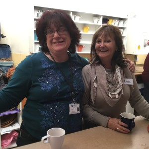 Listen - Linda & Ann in charge of the teas and coffees